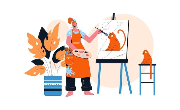 Artista femminile che disegna il ritratto del suo gatto rosso su tela. Vettore Premium