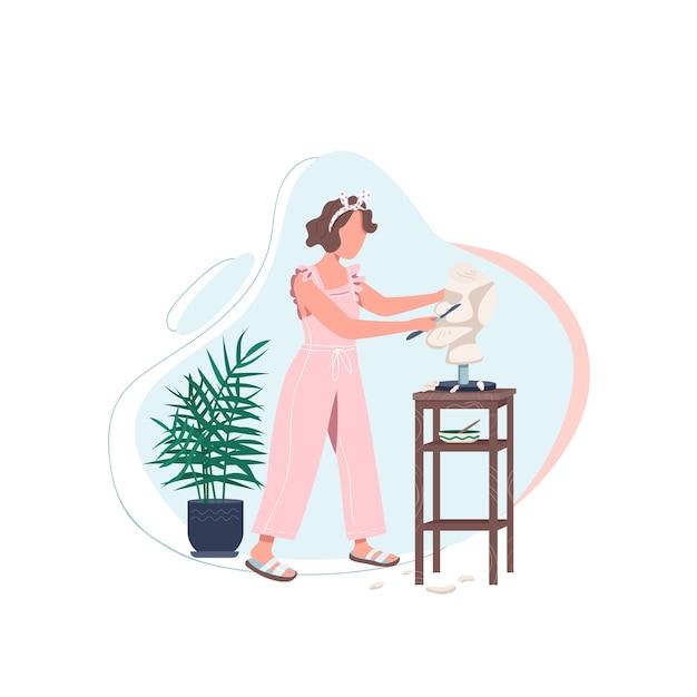 Artista femminile con carattere senza volto scolpito di colore piatto. la donna lavora in studio d'arte. scolpire il marmo con strumenti. illustrazione di cartone animato isolato espressione di sé per web design grafico e animazione Vettore Premium