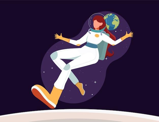 Astronout femminile che vola nello spazio Vettore Premium