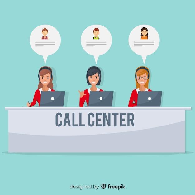 Call center design agente femminile Vettore Premium