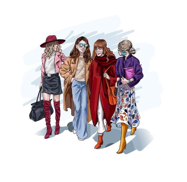 Personaggio femminile che indossa abiti eleganti di lusso che camminano mano nella mano. Vettore Premium