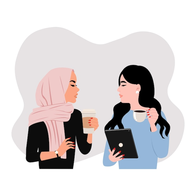 Collega che ha una discussione. situazione pausa caffè tra hijab e donna asiatica. piatto Vettore Premium