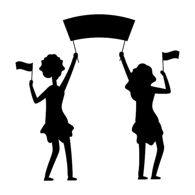 Sagoma di dimostrazioni femminili. protesta, parata, illustrazione di dimostrazione. Vettore Premium