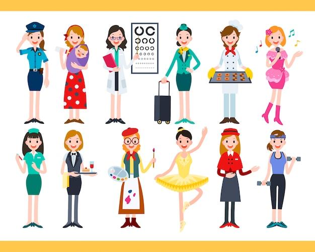 Femmina con diverse carriere, raccolta di adorabili lavori diversi in Vettore Premium