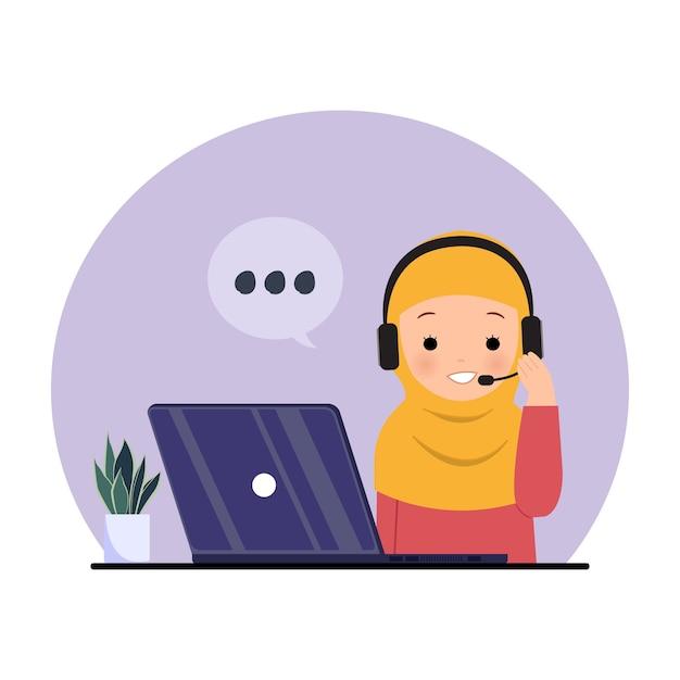 Dipendente femminile che utilizza la cuffia per rispondere alla chiamata. hijab donna al lavoro. clipart del centro di supporto hotline. illustrazione su bianco. Vettore Premium