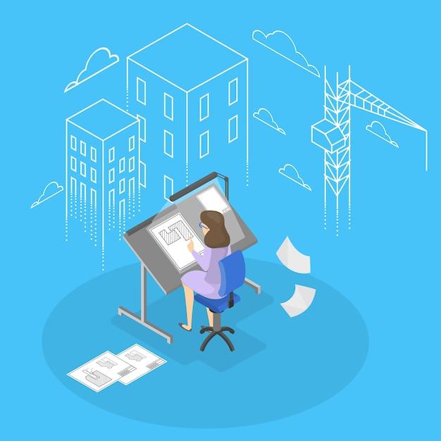 Ingegnere e architetto donna. Vettore Premium