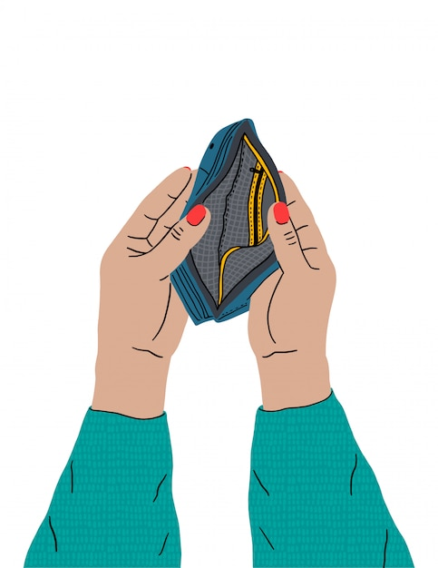 Le mani femminili stanno tenendo un portafoglio vuoto. mancanza di denaro, crisi economica, povertà. problemi di finanze, rovina degli affari, disoccupazione. Vettore Premium