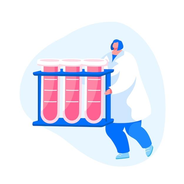 Carattere femminile dell'infermiera che trasporta provette con linfa vitale Vettore Premium