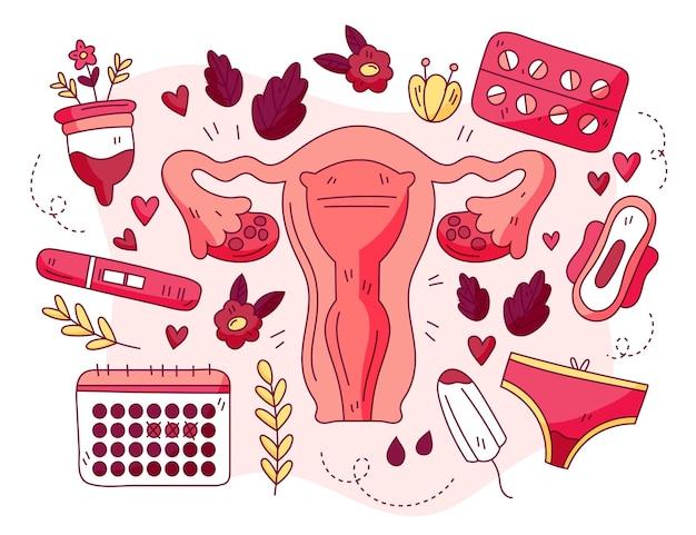 Concetto di sistema riproduttivo femminile Vettore Premium