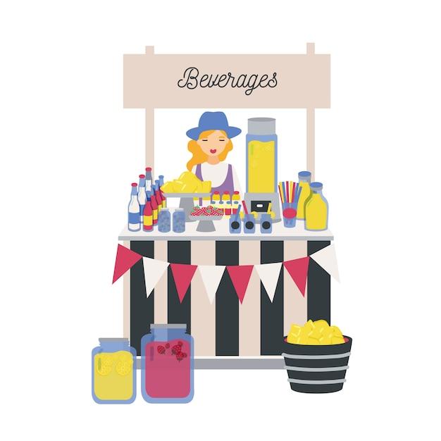 Venditore femminile in piedi al bancone, bancarella o chiosco con limoni, limonata e altre bevande analcoliche. ragazza che vende bevande rinfrescanti sul mercato locale degli agricoltori. illustrazione in stile cartone animato piatto. Vettore Premium