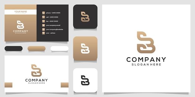 Lettera b femminile con design del logo foglia e biglietto da visita Vettore Premium