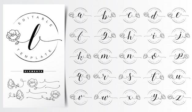 Modello di logo floreale lettera femminile Vettore Premium