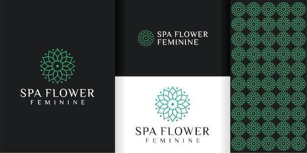 Logo e motivo del fiore femminile Vettore Premium