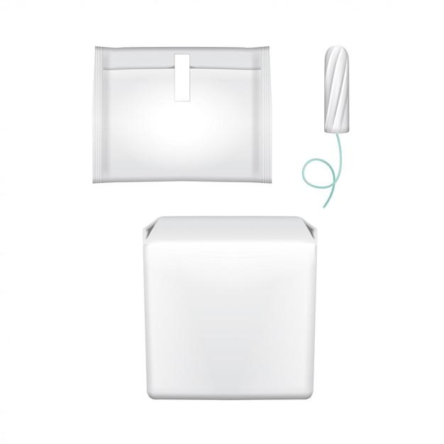 Cuscinetti per l'igiene femminile. confezione in plastica per assorbenti igienici, tampone igienico, tampone. imballaggio su uno sfondo bianco. giorni mestruali Vettore Premium