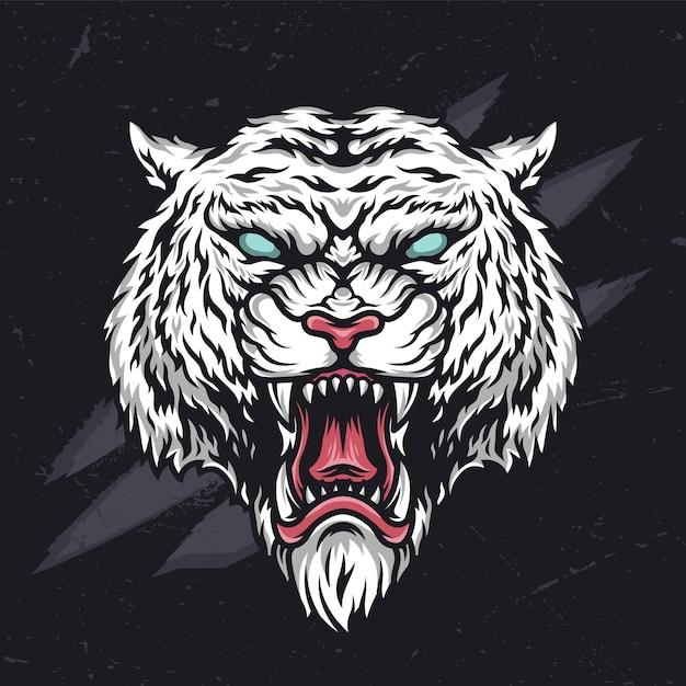 Testa di tigre crudele arrabbiata feroce Vettore Premium