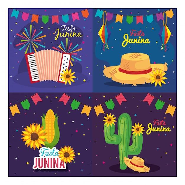Festa junina set carte, brasile festival di giugno con illustrazione della decorazione Vettore Premium