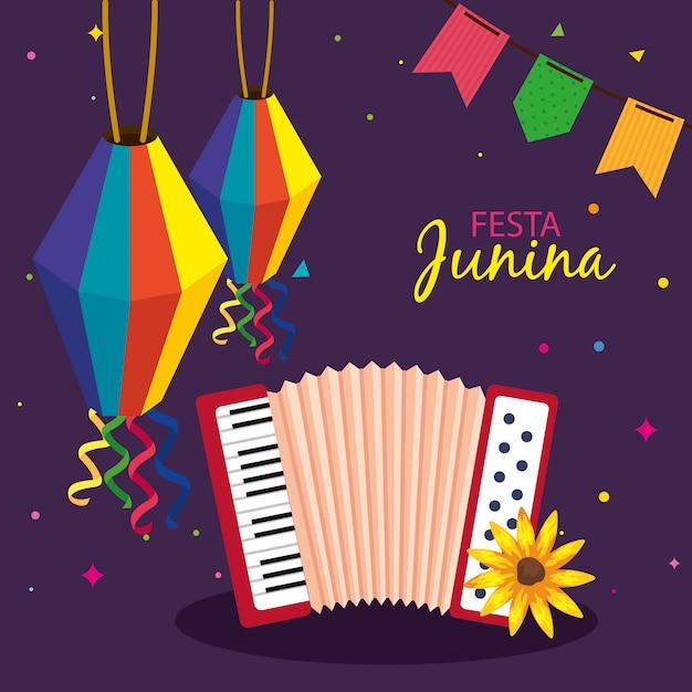 Festa junina con fisarmonica e decorazioni, festival di giugno in brasile, decorazione di celebrazione Vettore Premium