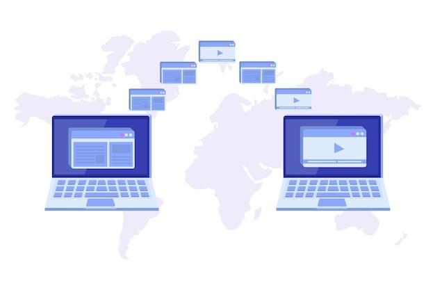 Trasferimento di file sul concetto di notebook. potrebbe rappresentare la sincronizzazione. Vettore Premium