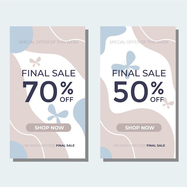 Modello di banner di vendita finale con colori tenui oastel per il design della tua promozione Vettore Premium