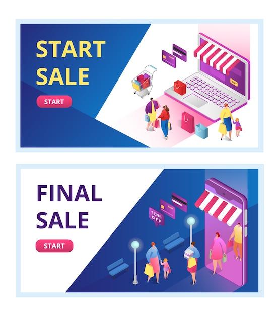 Set di banner di promozione di vendita finale, fine stagione, offerta di sconto,. liquidazione inizio vendita per negozio online, e-commerce. banner web promozionale di sconto per negozio di moda. Vettore Premium