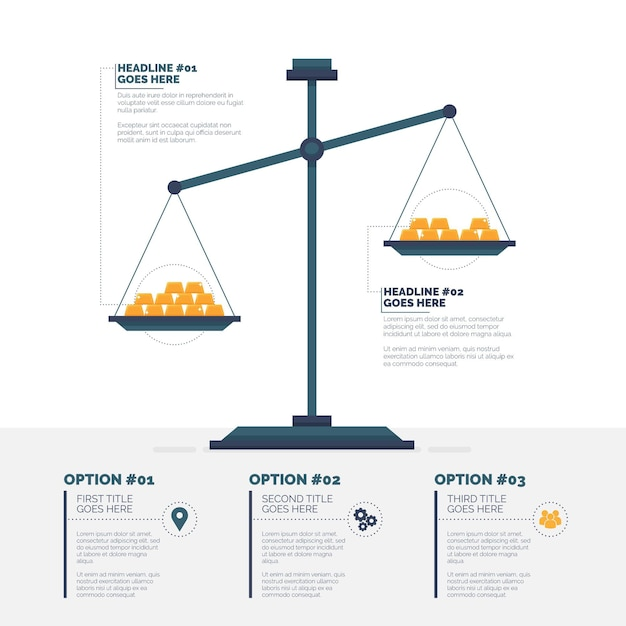 Finanza infografica con bilancia Vettore Premium