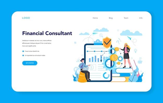 Banner web o pagina di destinazione per analista finanziario o consulente Vettore Premium