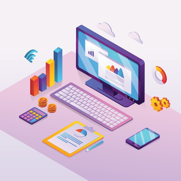Analisi finanziaria e analisi dei dati aziendali sullo schermo Vettore Premium
