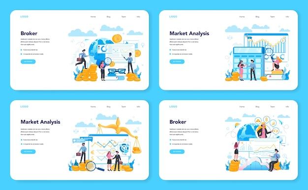 Banner web broker finanziario o set di pagine di destinazione. reddito, investimento e concetto di risparmio. carattere aziendale che fa operazione finanziaria. illustrazione vettoriale isolato Vettore Premium