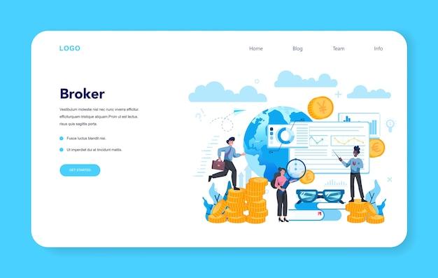 Banner web o pagina di destinazione del broker finanziario Vettore Premium