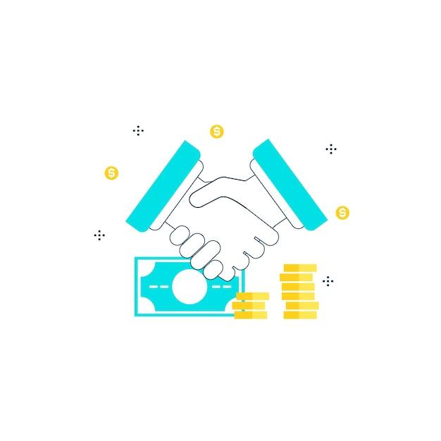 Affare finanziario, investimenti, stretta di mano, collaborazione di uomini d'affari, collaborazione di lavoro disegno lineare linea illustrazione Vettore Premium