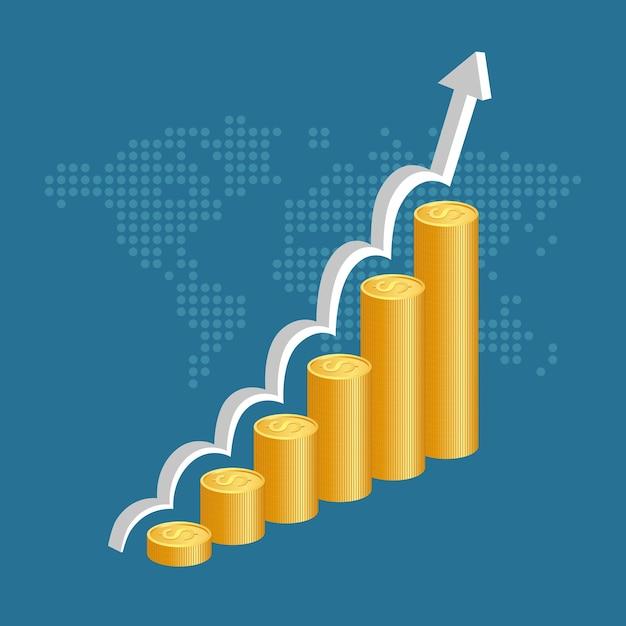 Concetto di successo finanziario pile di monete d'oro con sfondo grafico mappa e mondo. Vettore Premium