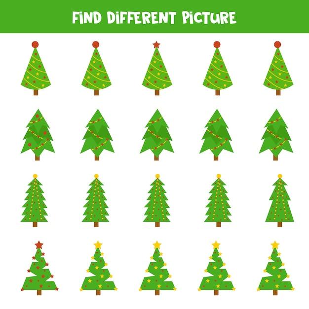 Trova un'immagine diversa dell'abete di natale in ogni riga. gioco logico educativo per bambini. Vettore Premium