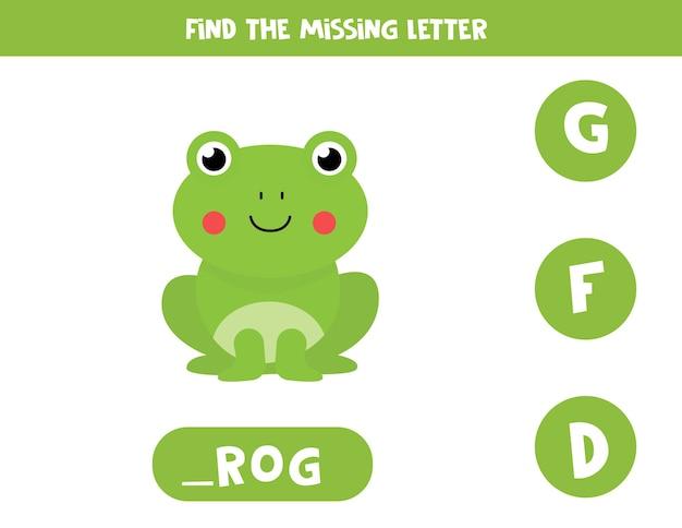 Trova la lettera mancante. rana simpatico cartone animato. gioco di ortografia educativo per bambini. Vettore Premium