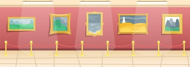 Museo delle belle arti. sala con dipinti in baguette dorate, recintata dai visitatori. arte classica. Vettore Premium