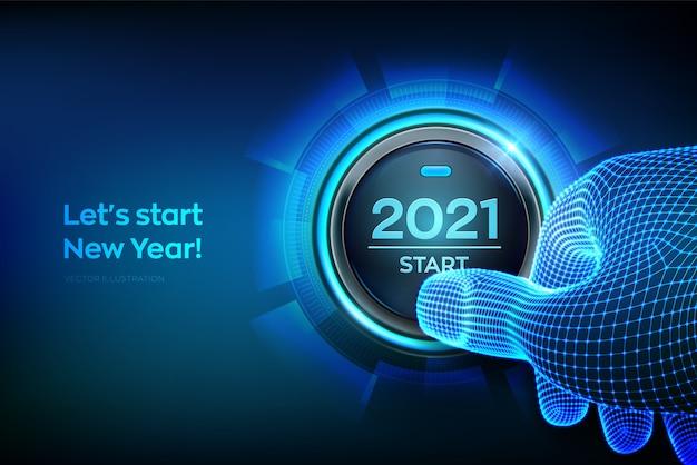 Dito che sta per premere un pulsante con l'inizio del testo. felice anno nuovo. Vettore Premium