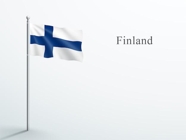 Finlandia bandiera 3d elemento sventolando sul pennone in acciaio Vettore Premium