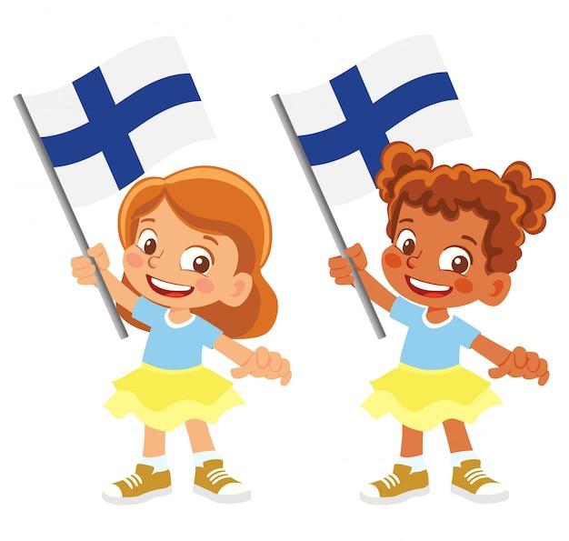 Bandiera della finlandia in mano insieme Vettore Premium
