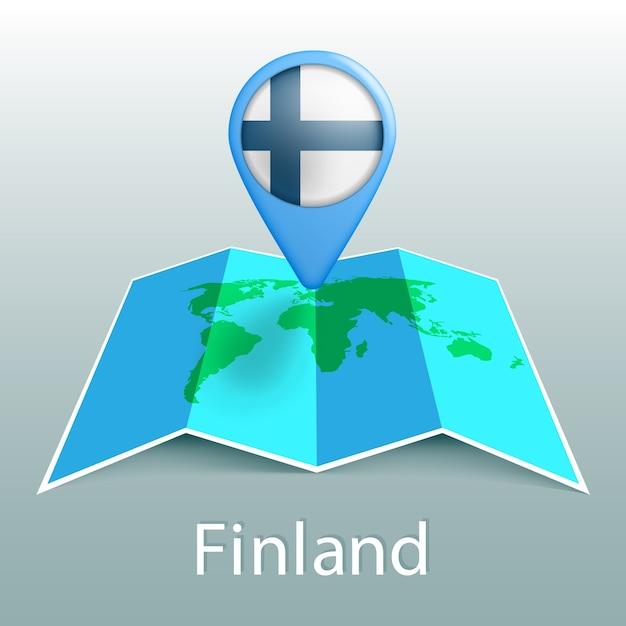 Finlandia bandiera mappa del mondo nel pin con il nome del paese su sfondo grigio Vettore Premium