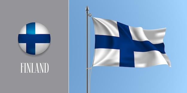 Finlandia sventolando bandiera sul pennone e icona rotonda. 3d realistico della croce bianca blu finisci bandiera e pulsante cerchio Vettore Premium