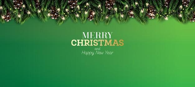 Ramo di abete con luci al neon e cono di pino su sfondo verde. buon natale. felice anno nuovo. Vettore Premium
