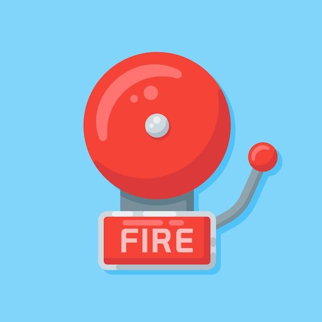 Allarme antincendio in stile piatto. Vettore Premium