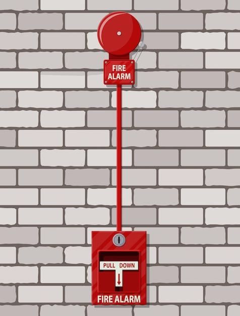 Sistema di allarme antincendio al muro di mattoni. attrezzature antincendio. Vettore Premium