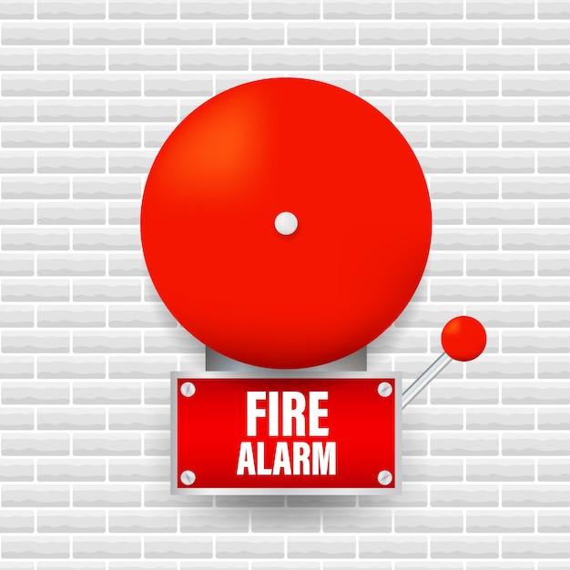 Sistema di allarme antincendio. attrezzature antincendio. illustrazione Vettore Premium