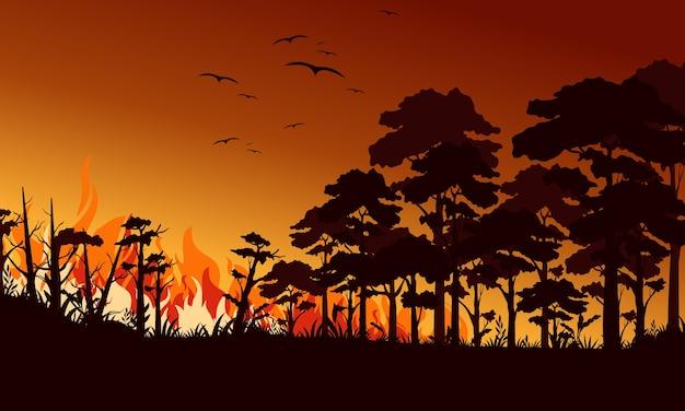 Fuoco nell'illustrazione piana della foresta. uccelli che volano sopra la fiamma del fuoco. paesaggio di incendi, terreni selvaggi. disastro di ecologia naturale. alberi in fiamme e legna da ardere di notte. bosco fiammeggiante. Vettore Premium