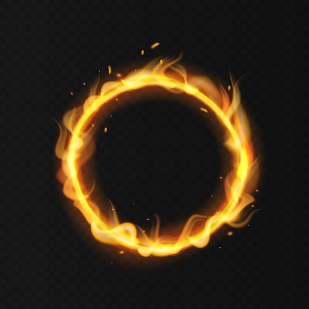 Anello di fuoco cerchio di circo ardente ardente realistico Vettore Premium