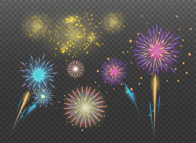 Petardi scintille. fuochi d'artificio per le vacanze. Vettore Premium
