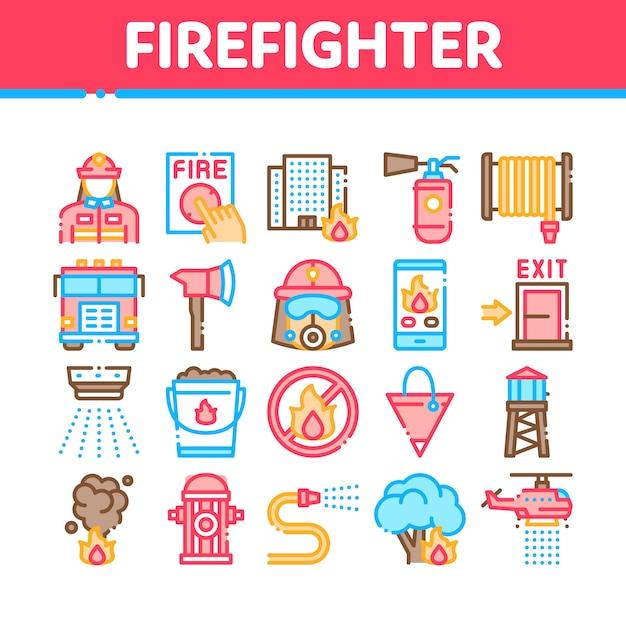 Pompiere equipment collection icons set Vettore Premium