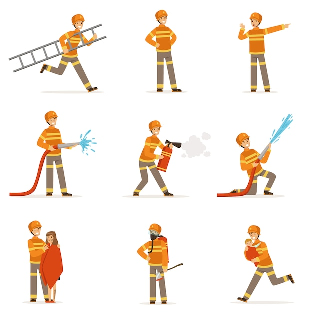 Pompieri in uniforme arancione che fanno il loro lavoro impostato. Vettore Premium