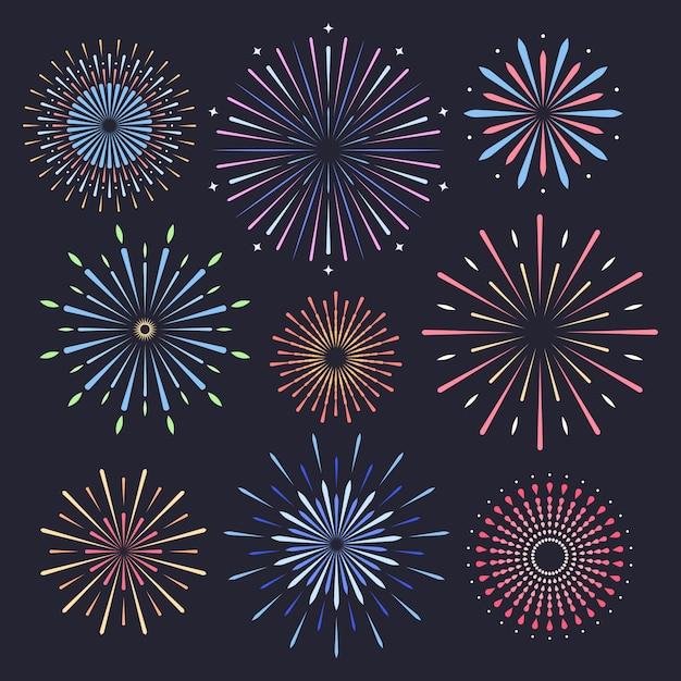 Fuochi d'artificio su sfondo scuro Vettore Premium