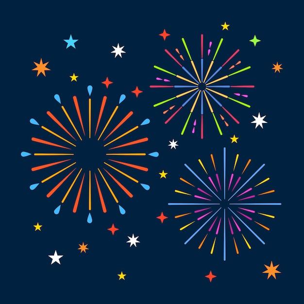 Fuochi d'artificio sullo sfondo di notte Vettore Premium